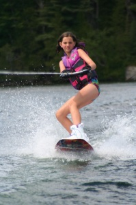 Jada showing off her wake boarding skills