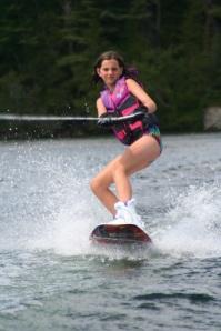 Jada showing off her wake boarding skills