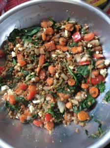 Warm Lentils with Spinach and Feta and Herbs